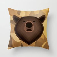 Camouflage gradient bear selfie Throw Pillow