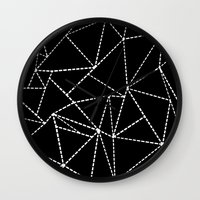 Abstract Dotted Lines White on Black Wall Clock