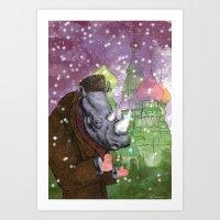 Russian Rhino Art Print