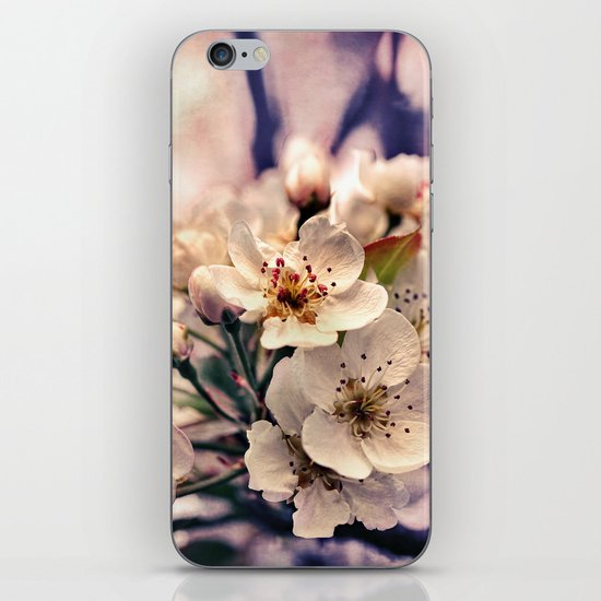 Blossoms at Dusk - vintage toned & textured macro photograph iPhone & iPod Skin