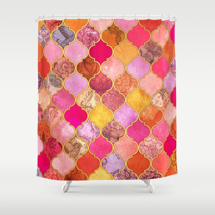 Hot Pink Gold Tangerine Taupe Decorative Moroccan Tile Pattern Shower