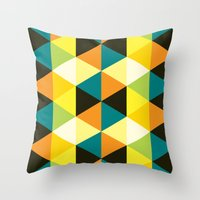 Teal, mustard, black & yellow triangles Throw Pillow