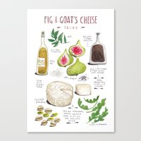 illustrated recipes: fig and goat's cheese salad Canvas Print