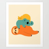 Art Prints featuring Being Lazy by Andy Westface