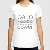 Cello is my super power (white) Womens Fitted Tee White SMALL