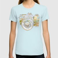 Travel Canon Womens Fitted Tee Light Blue SMALL