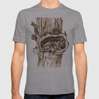Sleeping Raccoon in Tree Hollow Mens Fitted Tee Athletic Grey SMALL