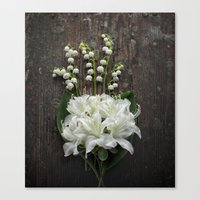 White Flowers on Rustic Table Canvas Print