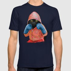 Boxing Cat 2  Mens Fitted Tee Navy SMALL