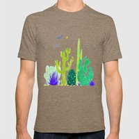 Watercolour Cactus & Bat… Mens Fitted Tee Tri-Coffee SMALL