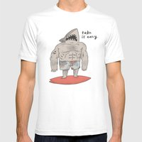 Surf Shark Mens Fitted Tee White SMALL