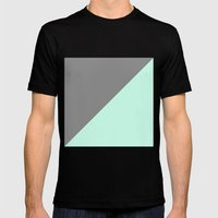 Grey and Mint Half Triangle Mens Fitted Tee Black SMALL