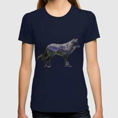 The Rocky Mountain Gray Wolf Womens Fitted Tee Navy SMALL