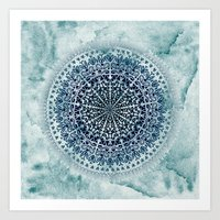 BLUE ICELAND MANDALA Art Print