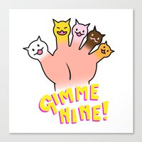 Cat Fingers - Gimme 9! Canvas Print