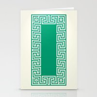 Greek Key emerald Stationery Cards