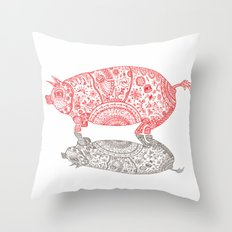 A Pig and his Shadow Throw Pillow