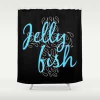 Jellyfish Cross Black Shower Curtain