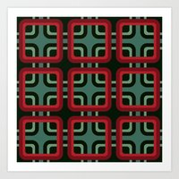 1970s pattern #1 (red & turquoise)  Art Print