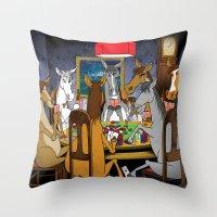 Horses Playing Poker Throw Pillow