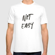 Not Easy White SMALL Mens Fitted Tee