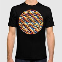 Vibrant Geometric Motif Mens Fitted Tee Black SMALL