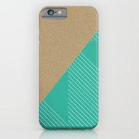 iPhone & iPod Case featuring Cardboard & Aqua Stripes by Pencil Me In ™