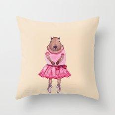 Capybara Ballerina  Throw Pillow