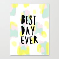 Best day ever abstract hand lettering Canvas Print