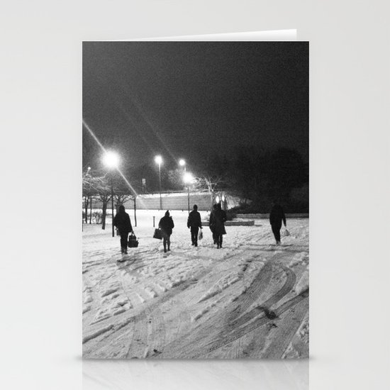 Walking in the snow Stationery Card