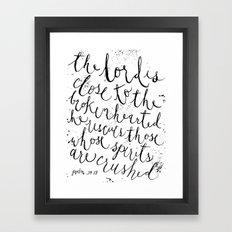 PSALM 34:18 (Black and White) Framed Art Print