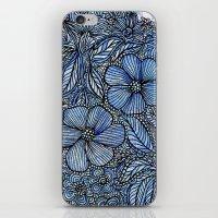 Flowers On Blue.  iPhone & iPod Skin