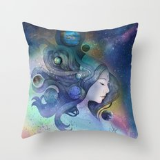 A thousand worlds on my mind Throw Pillow