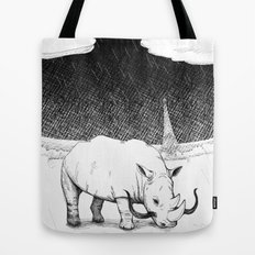 Rhino during Midnight in Paris Tote Bag