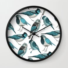 pale green birds Wall Clock