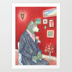 Everyday Animals - Mr Wolf gets ready for his wedding Art Print