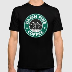 Damn Fine Coffee Mens Fitted Tee Black SMALL