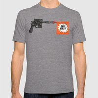 Shot First Mens Fitted Tee Tri-Grey SMALL