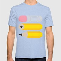Deconstructed Pencil Mens Fitted Tee Tri-Blue SMALL