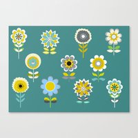 70ies inspired flowers Canvas Print