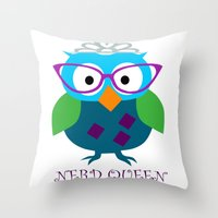 NERD QUEEN Throw Pillow