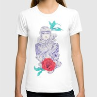Flowery 02 Womens Fitted Tee White SMALL
