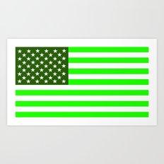 united states america green flag ecology Art Print