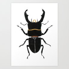 Noir Beetle Dark Watercolor  Art Print