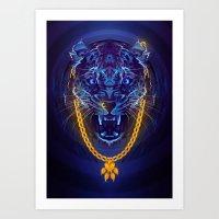 Blue Leopard Art Print