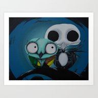 Art Print featuring The Owl Jack And Sally by Annelies202