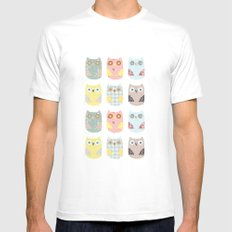 owls pattern SMALL Mens Fitted Tee White