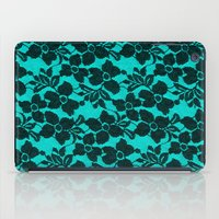 Black lace on blue iPad Case