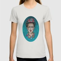 frida kahlo Womens Fitted Tee Silver SMALL