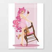 Sailor Moon Pinup - Chibiusa Cupcake Canvas Print